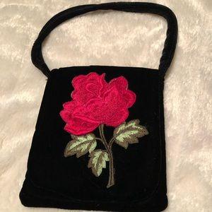 Vintage Black Velvet Bag